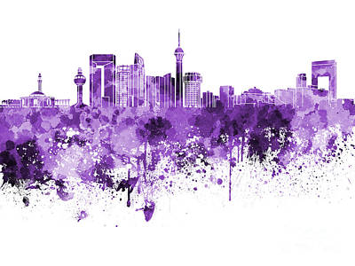 Jeddah Skyline In Purple Watercolor On White Background Poster