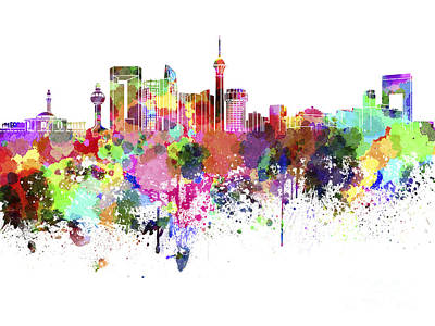 Jeddah Skyline In Watercolor On White Background Poster