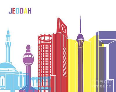 Jeddah Skyline Pop Poster
