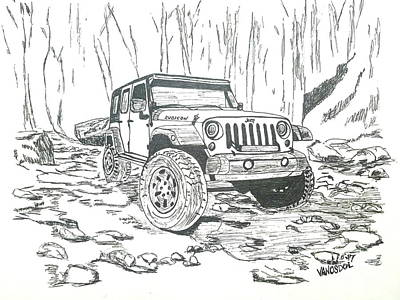 Jeep Rubicon Gel Pen Sketch Poster