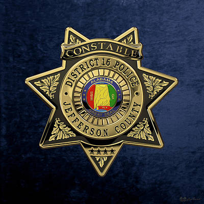 Jefferson County Sheriff's Department - Constable Badge Over Blue Velvet Poster by Serge Averbukh