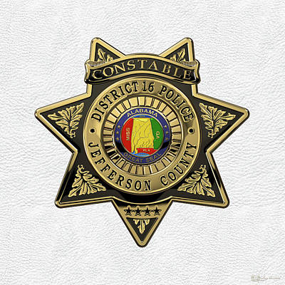 Jefferson County Sheriff's Department - Constable Badge Over White Leather Poster by Serge Averbukh