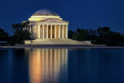 Jefferson Memorial At Twilight Poster by Andrew Soundarajan