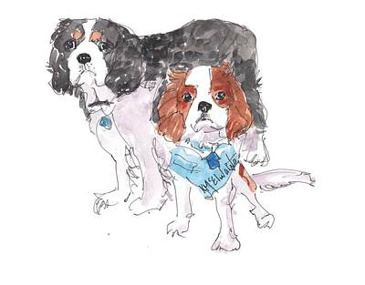Jeffs Dogs Watercolor Kmcelwaine  Poster