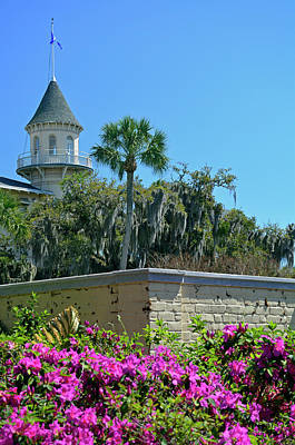 Poster featuring the photograph Jekyll Island Club Hotel And Azaleas by Bruce Gourley