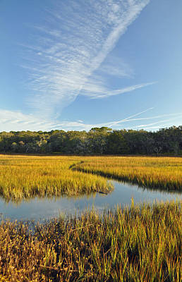 Jekyll Island Marsh High Tide And Sky Poster by Bruce Gourley