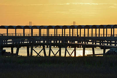 Jekyll Island Pier At Sunset Poster by Bruce Gourley