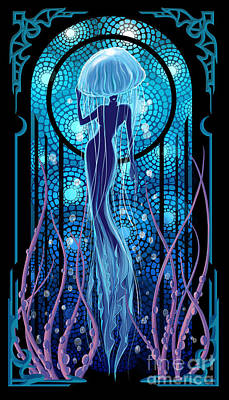 Jellyfish Mermaid Poster by Sassan Filsoof