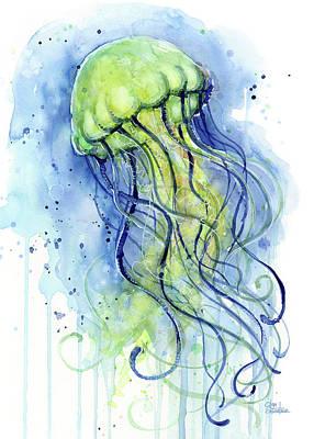 Jellyfish Watercolor Poster by Olga Shvartsur