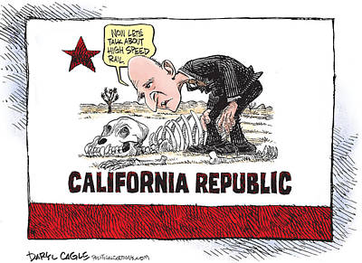 Jerry Brown - California Drought And High Speed Rail Poster