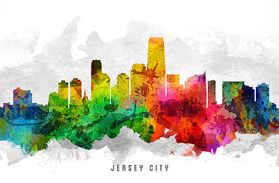 Jersey City New Jersey Cityscape 12 Poster by Aged Pixel