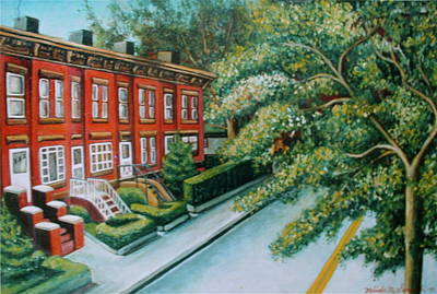 Poster featuring the painting Jersey City Street by Melinda Saminski