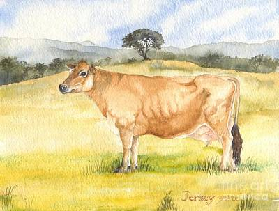 Poster featuring the painting Jersey Cow by Sandra Phryce-Jones