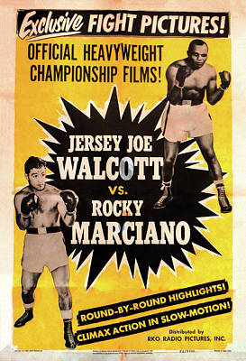 Jersey Joe Walcott Vs Rocky Marciano Poster by Bill Cannon