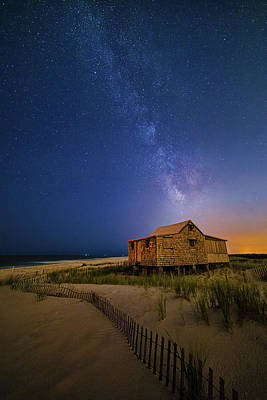 Jersey Shore Setting Moon  And Milky Way Poster
