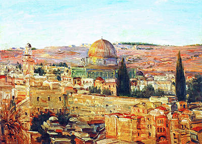 Jerusalem And The Dome Poster by Munir Alawi