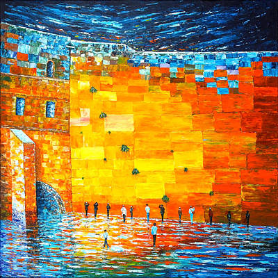 Poster featuring the painting Jerusalem Wailing Wall Original Acrylic Palette Knife Painting by Georgeta Blanaru