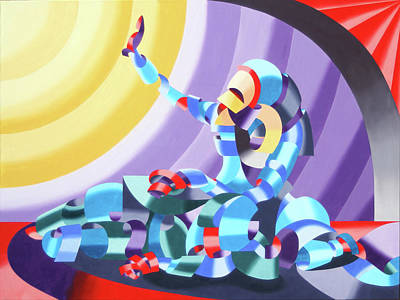Poster featuring the painting Jesse And Shandra - Abstract Figurative Oil Painting By Mark Webster by Mark Webster