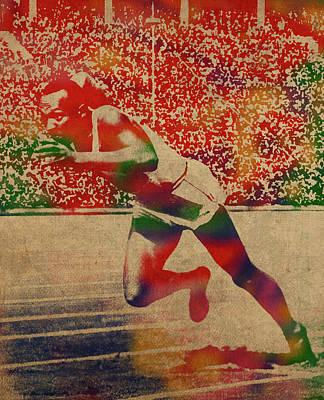 Jesse Owens Watercolor Portrait Poster