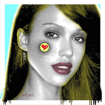 Jessica Alba Pop Art, Portrait, Contemporary Art On Canvas, Famous Celebrities Poster by Dr Eight Love