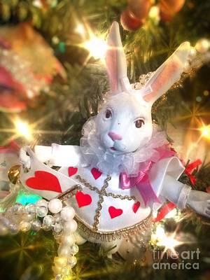 Jester White Rabbit Christmas Ornament Poster