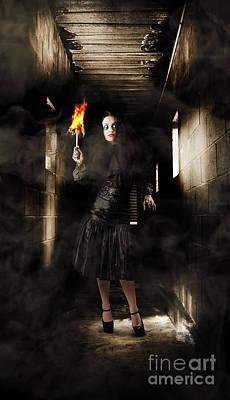 Jester Woman In Fear Walking Haunted Castle Halls Poster