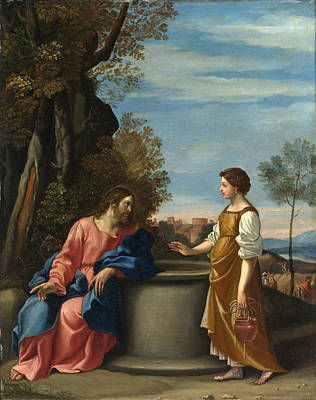 Jesus And The Woman From Samaria Poster by Follower of Guido Reni