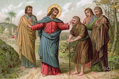 Jesus Christ Heals The Blind Man Poster