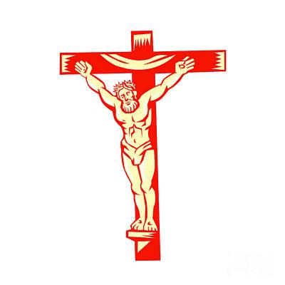 Jesus Christ On Cross Woodcut Poster by Aloysius Patrimonio
