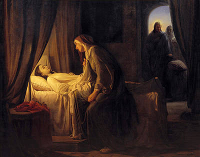 Jesus Christ Raising Daughter Of Jairus Poster by Carl Bloch
