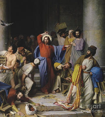 Jesus Cleansing The Temple Poster by Celestial Images
