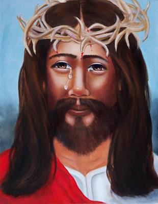 Jesus In Red Poster by Joni McPherson