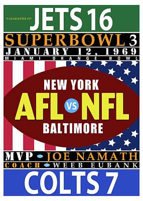Jets 16 Colts 7 Super Bowl 3 Poster