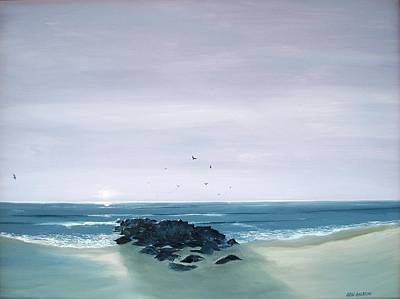 Poster featuring the painting Jetty At Dawn by Ken Ahlering