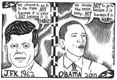 Jfk Vs Obama On Nasa Poster