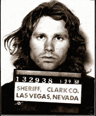 Jim Morrison Mug Shot 1968 Painting Sepia Poster by Tony Rubino