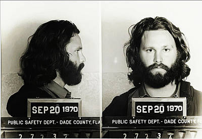 Jim Morrison Mugshot Poster by Bill Cannon