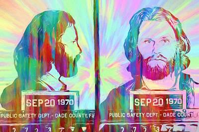 Jim Morrison Tie Dye Mug Shot Poster by Dan Sproul