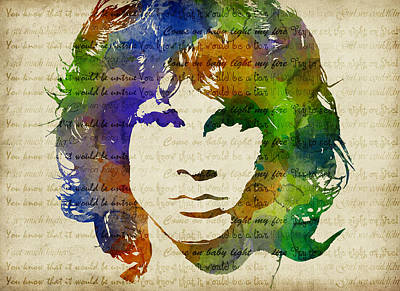 Jim Morrison Watercolor Poster by Mihaela Pater