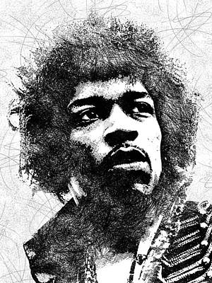 Jimi Hendrix Bw Portrait Poster by Mihaela Pater
