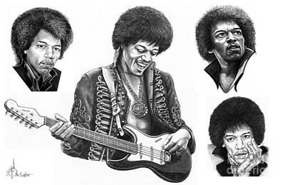 Jimi Hendrix Collage Poster by Murphy Elliott