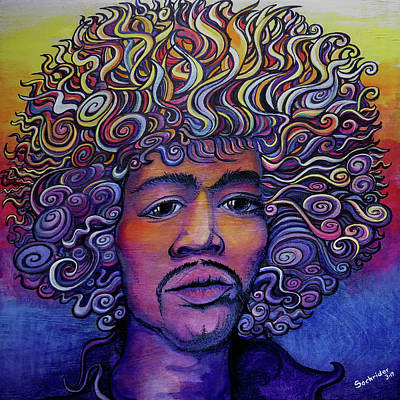 Poster featuring the painting Jimi Hendrix Groove by David Sockrider