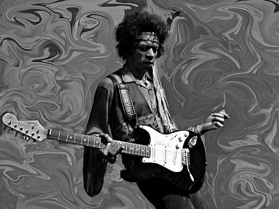 Poster featuring the photograph Jimi Hendrix Purple Haze B W by David Dehner