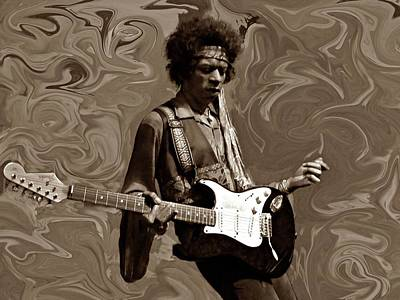 Poster featuring the photograph Jimi Hendrix Purple Haze Sepia by David Dehner