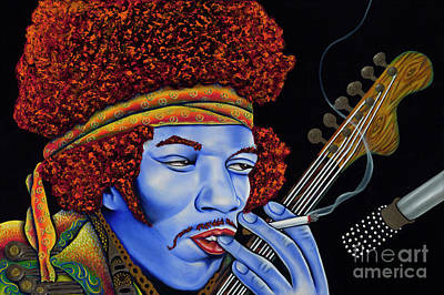 Jimi In Thought Poster by Nannette Harris