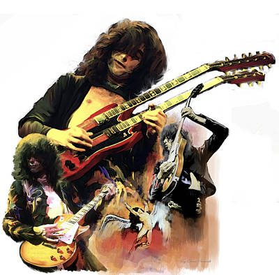Poster featuring the painting Jimmy Page  Echoes Of Pompeii by Iconic Images Art Gallery David Pucciarelli