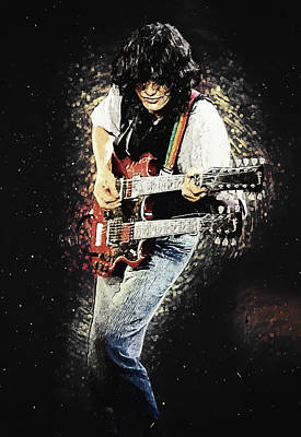 Poster featuring the digital art Jimmy Page II by Taylan Apukovska