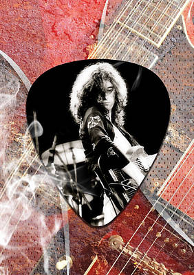 Jimmy Page Led Zeppelin Art Poster by Marvin Blaine