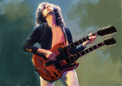 Poster featuring the painting Jimmy Page  Stairway  by Iconic Images Art Gallery David Pucciarelli