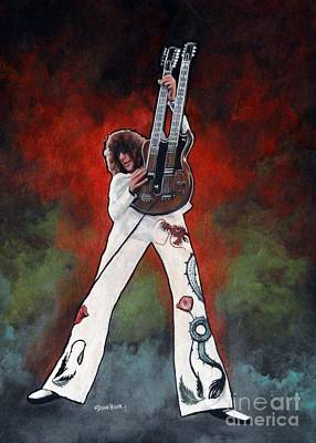 Jimmy Page With Multi Color Background Poster